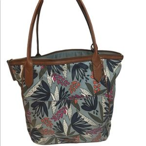 FOSSIL tote bag floral print zipper inside